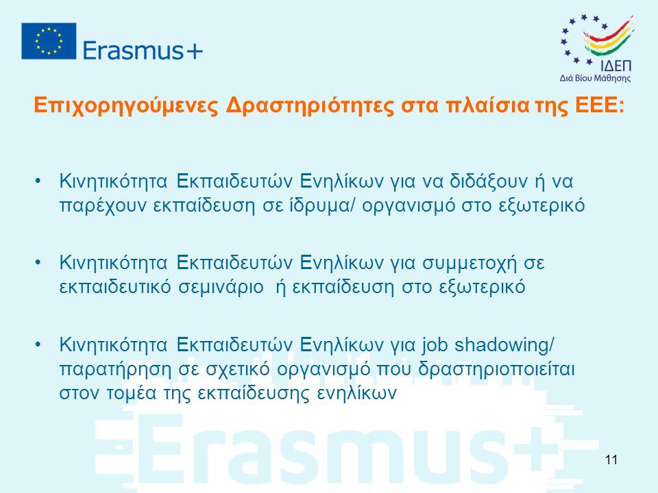 Επιχορηγούμενες Δραστηριότητες στα πλαίσια της ΕΕΕ: Κινητικότητα Εκπαιδευτών Ενηλίκων για να διδάξουν ή να παρέχουν εκπαίδευση σε ίδρυμα/ οργανισμό στο εξωτερικό Κινητικότητα Εκπαιδευτών Ενηλίκων για συμμετοχή σε εκπαιδευτικό σεμινάριο ή εκπαίδευση στο εξωτερικό Κινητικότητα Εκπαιδευτών Ενηλίκων για job shadowing/ παρατήρηση σε σχετικό οργανισμό που δραστηριοποιείται στον τομέα της εκπαίδευσης ενηλίκων 11