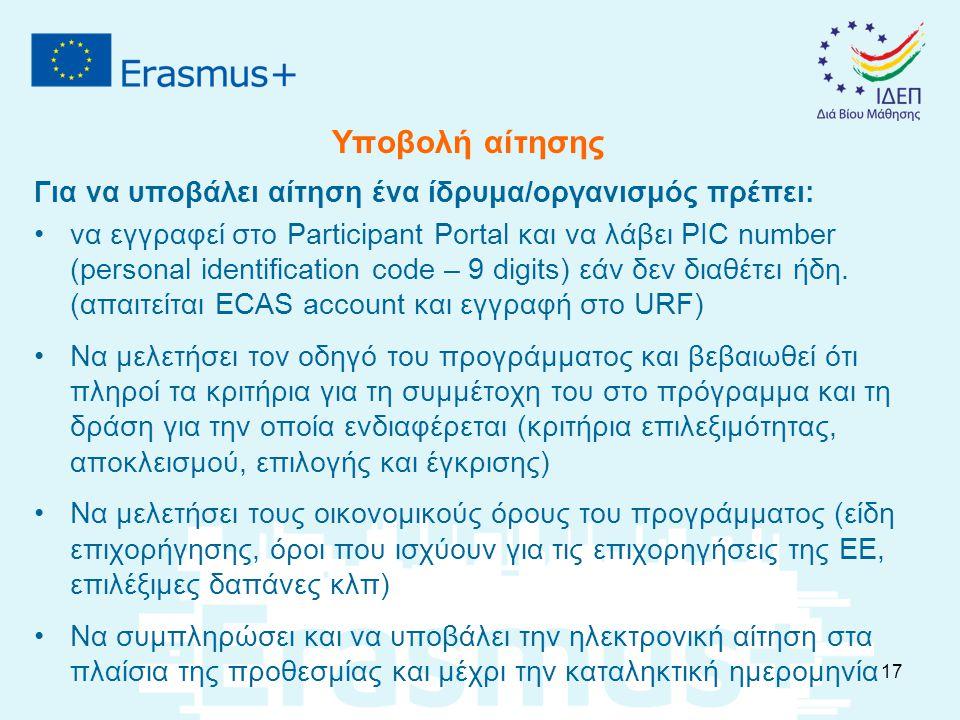 Υποβολή αίτησης Για να υποβάλει αίτηση ένα ίδρυμα/οργανισμός πρέπει: να εγγραφεί στο Participant Portal και να λάβει PIC number (personal identification code – 9 digits) εάν δεν διαθέτει ήδη.