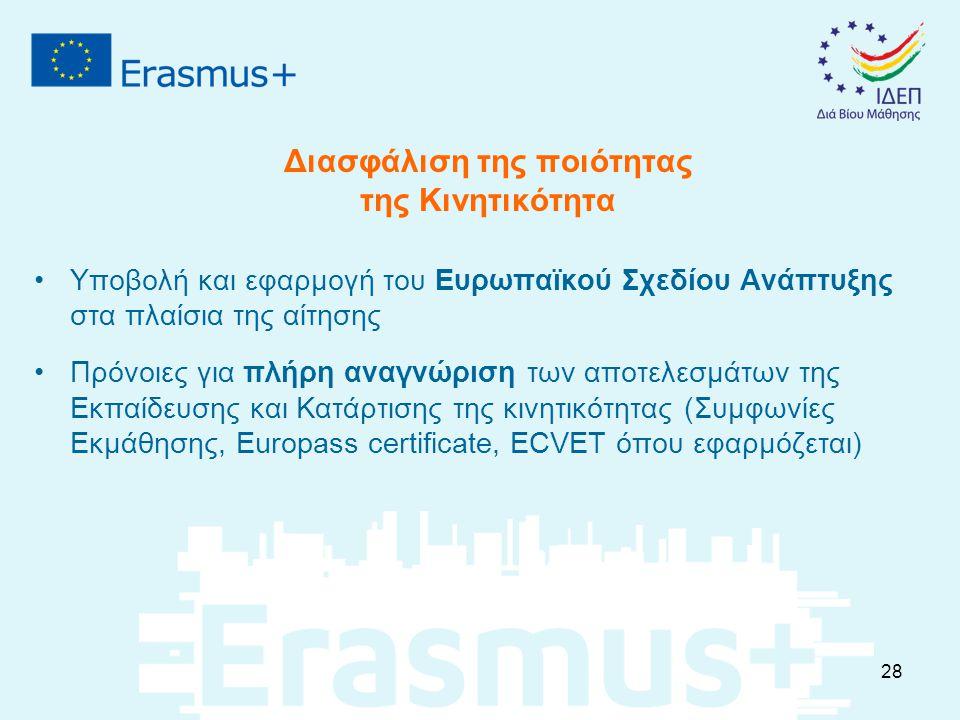 Διασφάλιση της ποιότητας της Κινητικότητα Υποβολή και εφαρμογή του Ευρωπαϊκού Σχεδίου Ανάπτυξης στα πλαίσια της αίτησης Πρόνοιες για πλήρη αναγνώριση των αποτελεσμάτων της Εκπαίδευσης και Κατάρτισης της κινητικότητας (Συμφωνίες Εκμάθησης, Europass certificate, ECVET όπου εφαρμόζεται) 28