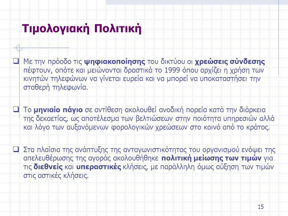 15 Τιμολογιακή Πολιτική  Με την πρόοδο τις ψηφιακοποίησης του δικτύου οι χρεώσεις σύνδεσης πέφτουν, οπότε και μειώνονται δραστικά το 1999 όπου αρχίζει η χρήση των κινητών τηλεφώνων να γίνεται ευρεία και να μπορεί να υποκαταστήσει την σταθερή τηλεφωνία.