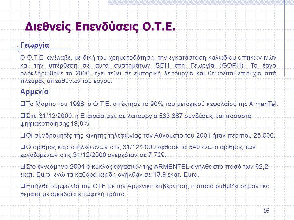16 Διεθνείς Επενδύσεις Ο.Τ.Ε.Γεωργία Ο Ο.Τ.Ε.