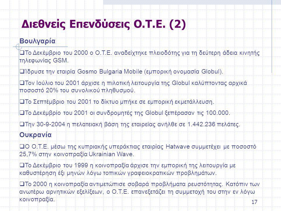 17 Βουλγαρία  Το Δεκέμβριο του 2000 ο Ο.Τ.Ε.