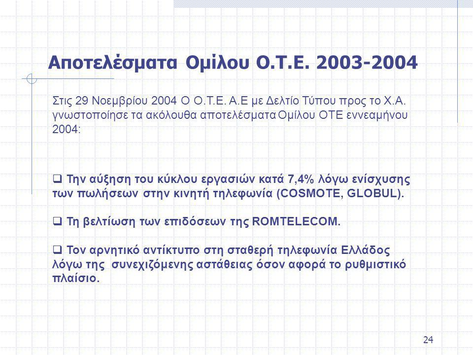 24 Στις 29 Νοεμβρίου 2004 Ο Ο.Τ.Ε. Α.Ε με Δελτίο Τύπου προς το Χ.Α.