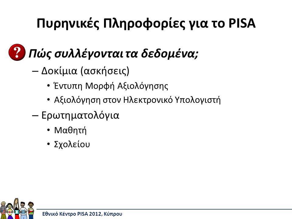 Πυρηνικές Πληροφορίες για το PISA Πώς συλλέγονται τα δεδομένα; – Δοκίμια (ασκήσεις) Έντυπη Μορφή Αξιολόγησης Αξιολόγηση στον Ηλεκτρονικό Υπολογιστή – Ερωτηματολόγια Μαθητή Σχολείου Εθνικό Κέντρο PISA 2012, Κύπρου