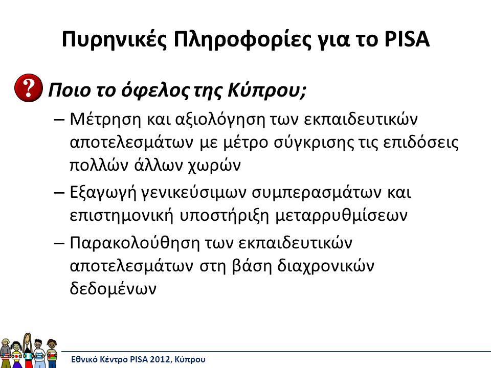 Πυρηνικές Πληροφορίες για το PISA Ποιο το όφελος της Κύπρου; – Μέτρηση και αξιολόγηση των εκπαιδευτικών αποτελεσμάτων με μέτρο σύγκρισης τις επιδόσεις πολλών άλλων χωρών – Εξαγωγή γενικεύσιμων συμπερασμάτων και επιστημονική υποστήριξη μεταρρυθμίσεων – Παρακολούθηση των εκπαιδευτικών αποτελεσμάτων στη βάση διαχρονικών δεδομένων Εθνικό Κέντρο PISA 2012, Κύπρου