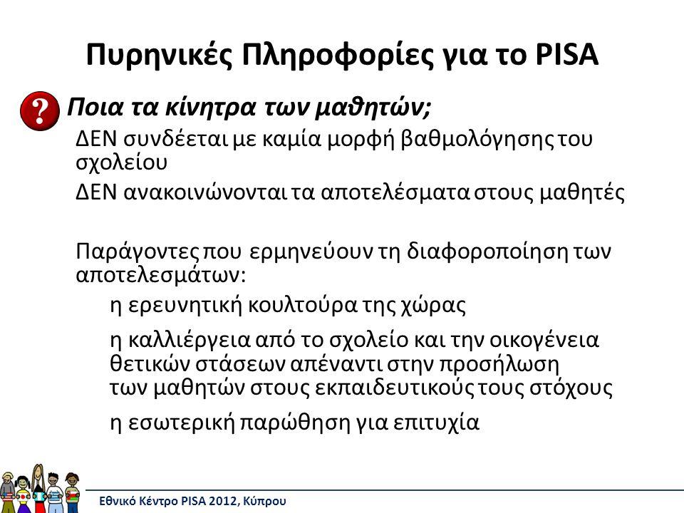 Πυρηνικές Πληροφορίες για το PISA Ποια τα κίνητρα των μαθητών; ΔΕΝ συνδέεται με καμία μορφή βαθμολόγησης του σχολείου ΔΕΝ ανακοινώνονται τα αποτελέσματα στους μαθητές Παράγοντες που ερμηνεύουν τη διαφοροποίηση των αποτελεσμάτων: η ερευνητική κουλτούρα της χώρας η καλλιέργεια από το σχολείο και την οικογένεια θετικών στάσεων απέναντι στην προσήλωση των μαθητών στους εκπαιδευτικούς τους στόχους η εσωτερική παρώθηση για επιτυχία Εθνικό Κέντρο PISA 2012, Κύπρου