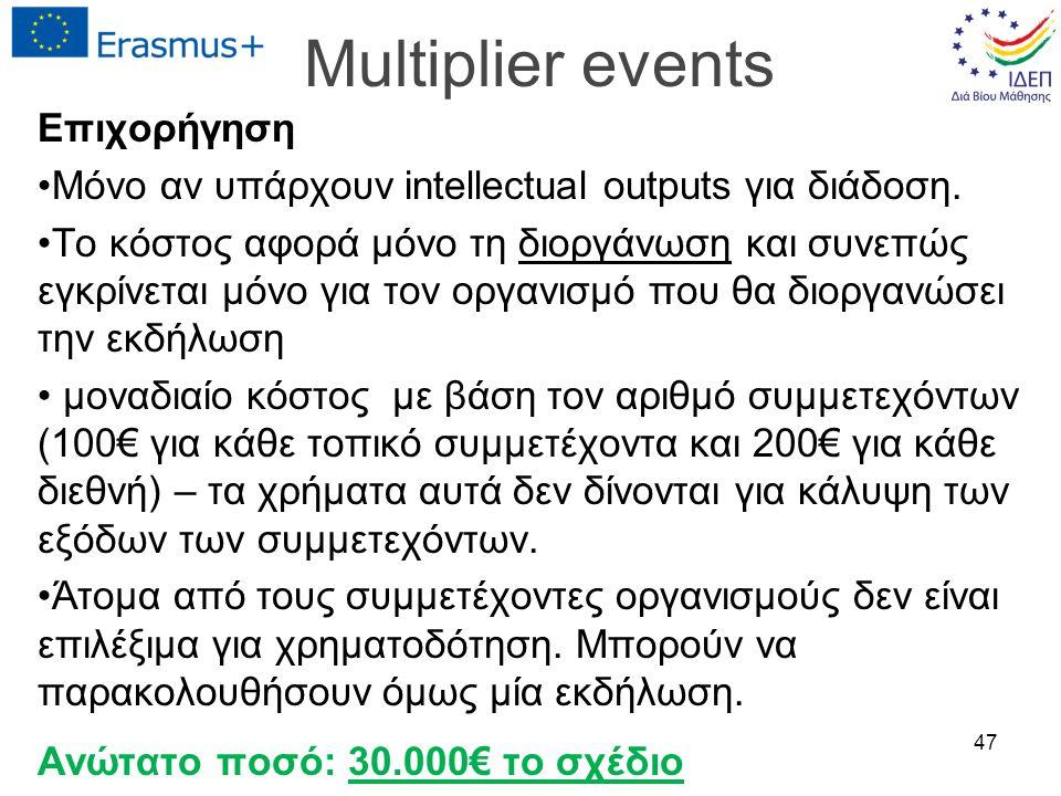 Multiplier events Επιχορήγηση Μόνο αν υπάρχουν intellectual outputs για διάδοση. Το κόστος αφορά μόνο τη διοργάνωση και συνεπώς εγκρίνεται μόνο για το