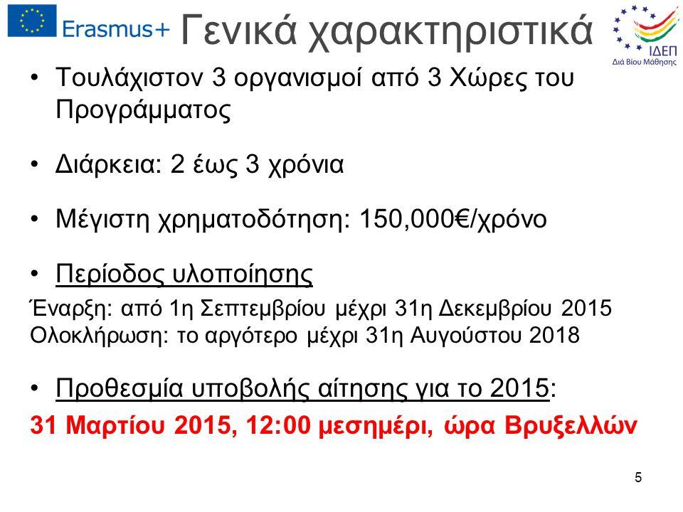 Γενικά χαρακτηριστικά Τουλάχιστον 3 οργανισμοί από 3 Χώρες του Προγράμματος Διάρκεια: 2 έως 3 χρόνια Μέγιστη χρηματοδότηση: 150,000€/χρόνο Περίοδος υλοποίησης Έναρξη: από 1η Σεπτεμβρίου μέχρι 31η Δεκεμβρίου 2015 Ολοκλήρωση: το αργότερο μέχρι 31η Αυγούστου 2018 Προθεσμία υποβολής αίτησης για το 2015: 31 Μαρτίου 2015, 12:00 μεσημέρι, ώρα Βρυξελλών 5