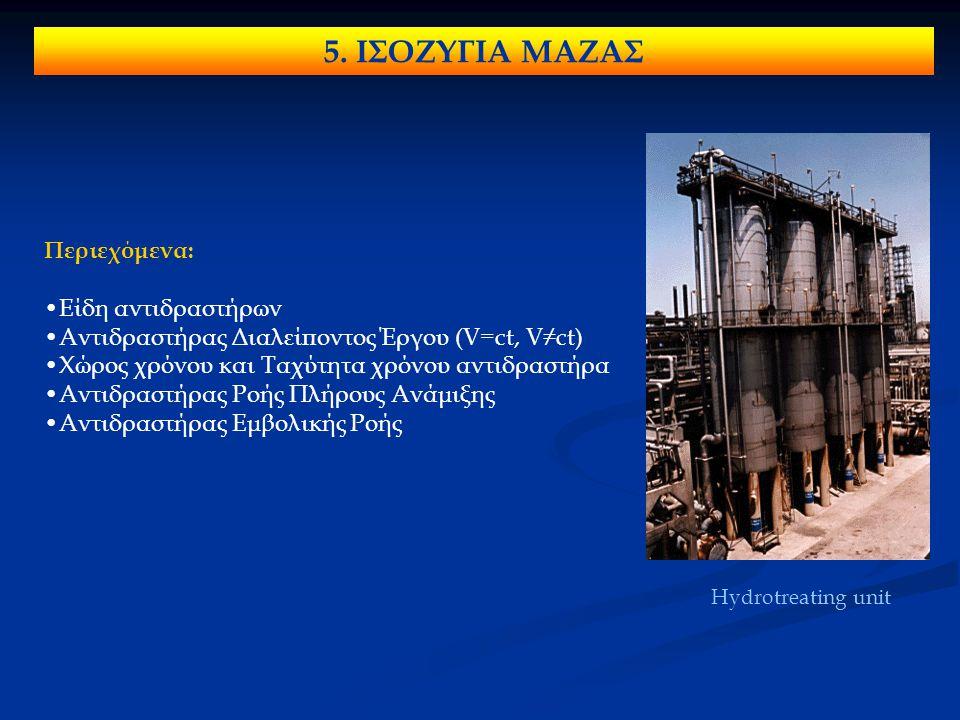 5. ΙΣΟΖΥΓΙΑ ΜΑΖΑΣ Περιεχόμενα: Είδη αντιδραστήρων Αντιδραστήρας Διαλείποντος Έργου (V=ct, V≠ct) Χώρος χρόνου και Ταχύτητα χρόνου αντιδραστήρα Αντιδρασ