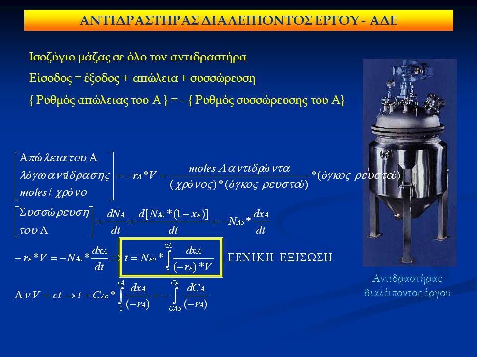 ΑΝΤΙΔΡΑΣΤΗΡΑΣ ΔΙΑΛΕΙΠΟΝΤΟΣ ΕΡΓΟΥ - ΑΔΕ Ισοζύγιο μάζας σε όλο τον αντιδραστήρα Είσοδος = έξοδος + απώλεια + συσσώρευση { Ρυθμός απώλειας του Α } = - {