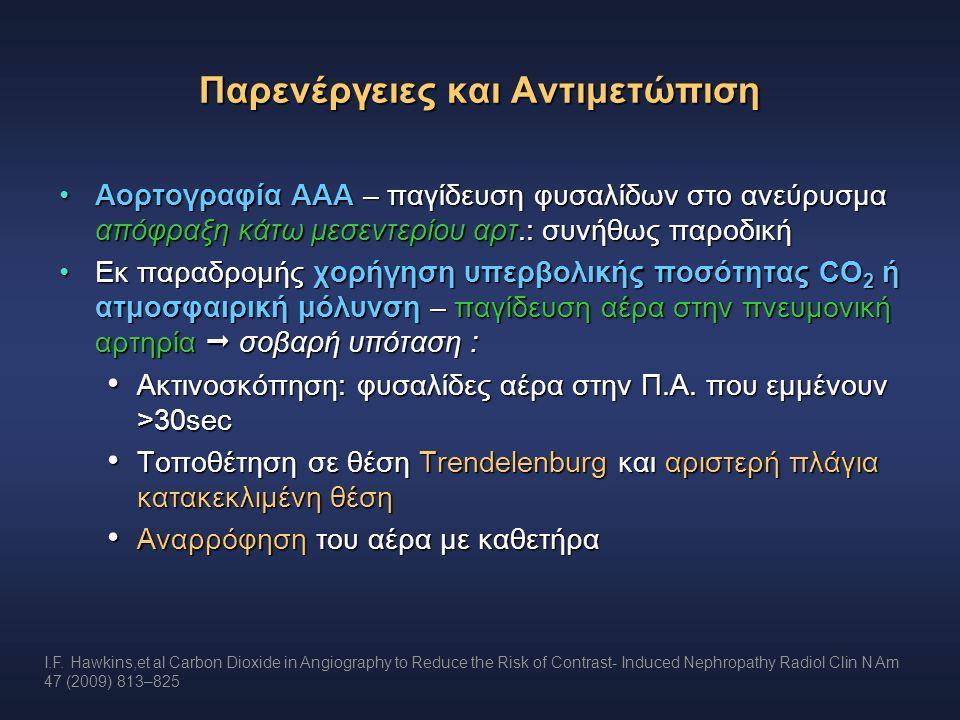 Παρενέργειες και Αντιμετώπιση Αορτογραφία ΑΑΑ – παγίδευση φυσαλίδων στο ανεύρυσμα απόφραξη κάτω μεσεντερίου αρτ.: συνήθως παροδικήΑορτογραφία ΑΑΑ – πα
