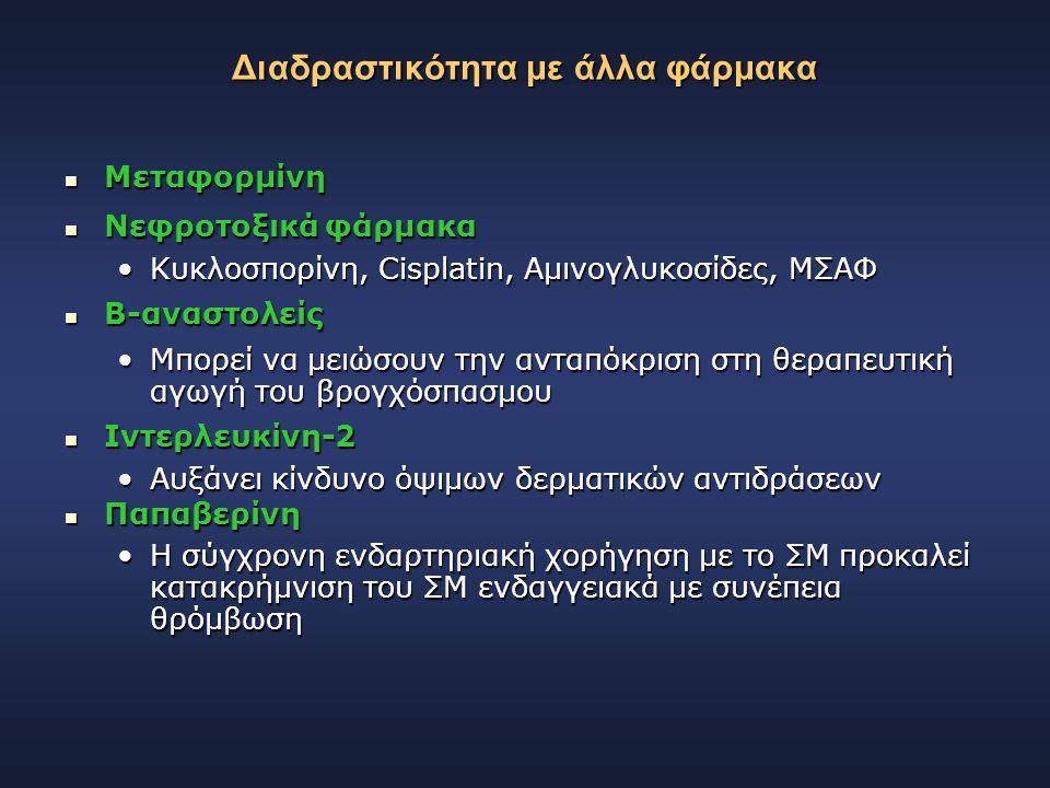 Διαδραστικότητα με άλλα φάρμακα Μεταφορμίνη Μεταφορμίνη Νεφροτοξικά φάρμακα Νεφροτοξικά φάρμακα Κυκλοσπορίνη, Cisplatin, Αμινογλυκοσίδες, ΜΣΑΦΚυκλοσπο