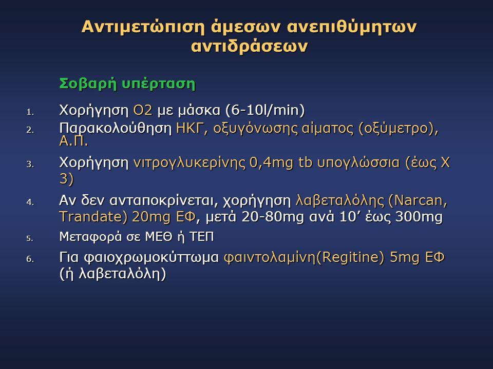 Σοβαρή υπέρταση 1. Χορήγηση Ο2 με μάσκα (6-10l/min) 2. Παρακολούθηση ΗΚΓ, οξυγόνωσης αίματος (οξύμετρο), Α.Π. 3. Χορήγηση νιτρογλυκερίνης 0,4mg tb υπο