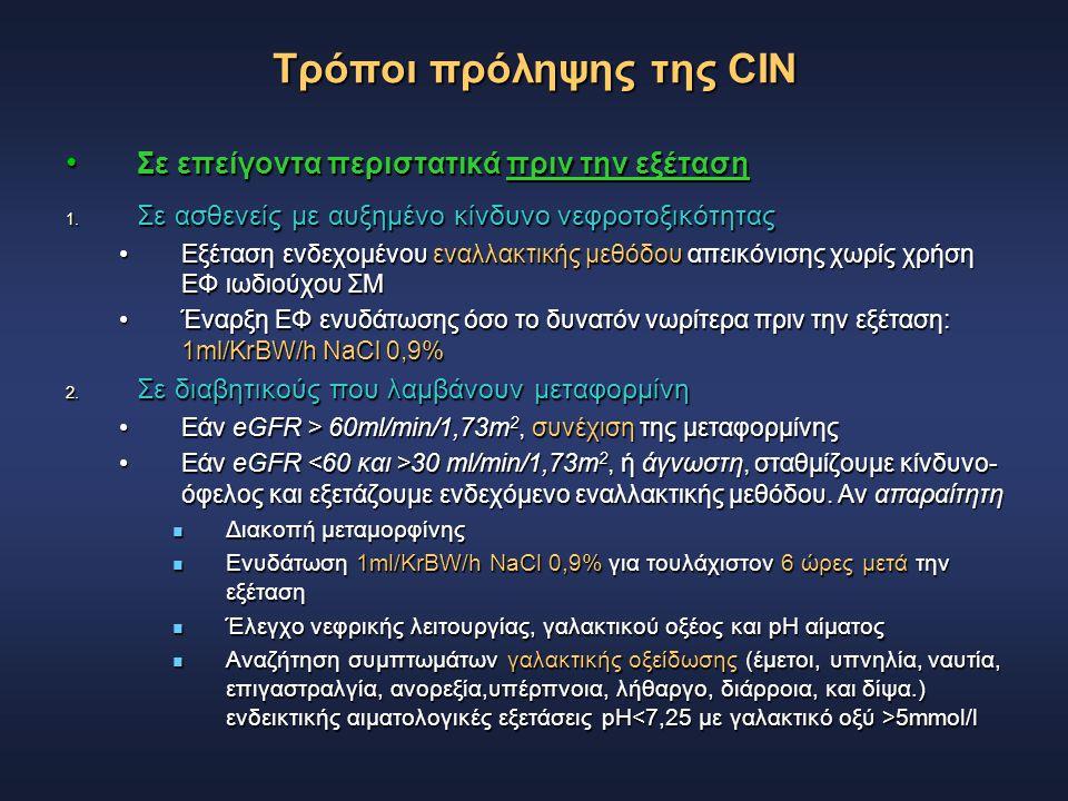 Τρόποι πρόληψης της CIN Σε επείγοντα περιστατικά πριν την εξέταση Σε επείγοντα περιστατικά πριν την εξέταση 1. Σε ασθενείς με αυξημένο κίνδυνο νεφροτο