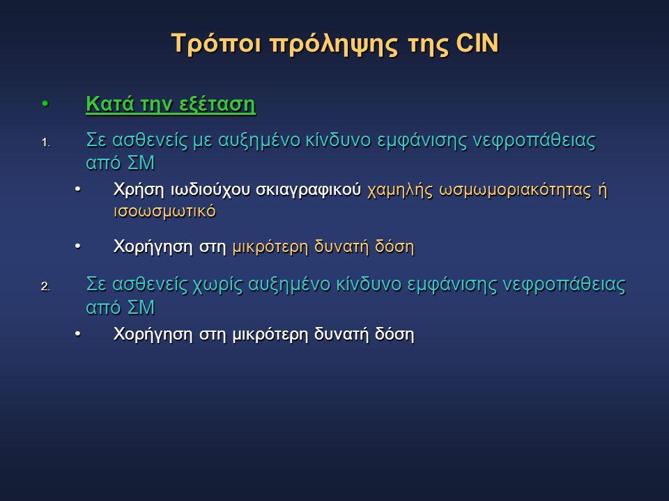 Τρόποι πρόληψης της CIN Κατά την εξέταση Κατά την εξέταση 1. Σε ασθενείς με αυξημένο κίνδυνο εμφάνισης νεφροπάθειας από ΣΜ Χρήση ιωδιούχου σκιαγραφικο