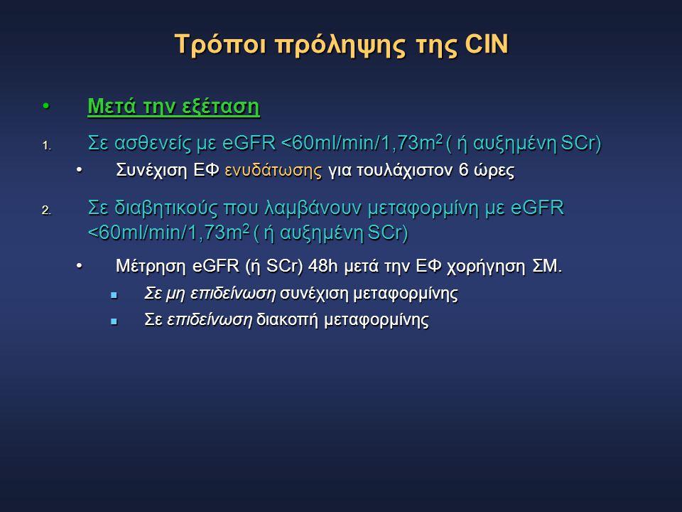 Τρόποι πρόληψης της CIN Μετά την εξέταση Μετά την εξέταση 1. Σε ασθενείς με eGFR <60ml/min/1,73m 2 ( ή αυξημένη SCr) Συνέχιση ΕΦ ενυδάτωσης για τουλάχ