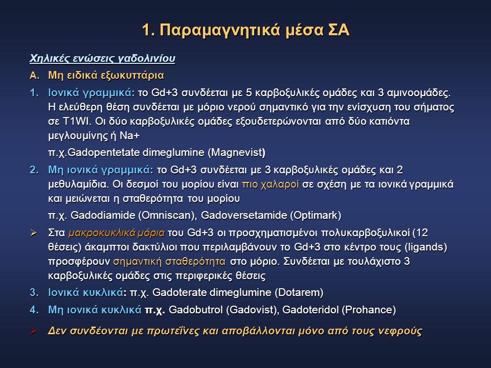 Χηλικές ενώσεις γαδολινίου A. Μη ειδικά εξωκυττάρια 1. Ιονικά γραμμικά: το Gd+3 συνδέεται με 5 καρβοξυλικές ομάδες και 3 αμινοομάδες. Η ελεύθερη θέση
