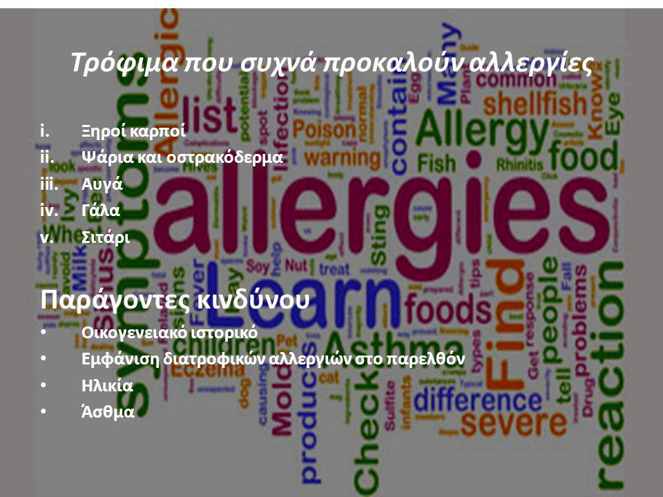 Τρόφιμα που συχνά προκαλούν αλλεργίες i.Ξηροί καρποί ii.Ψάρια και οστρακόδερμα iii.Αυγά iv.Γάλα v.Σιτάρι Παράγοντες κινδύνου Οικογενειακό ιστορικό Εμφ