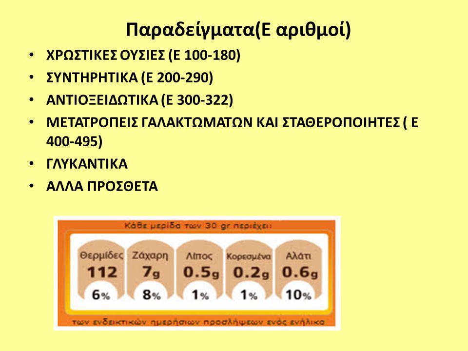 Παραδείγματα(Ε αριθμοί) ΧΡΩΣΤΙΚΕΣ ΟΥΣΙΕΣ (Ε 100-180) ΣΥΝΤΗΡΗΤΙΚΑ (Ε 200-290) ΑΝΤΙΟΞΕΙΔΩΤΙΚΑ (Ε 300-322) ΜΕΤΑΤΡΟΠΕΙΣ ΓΑΛΑΚΤΩΜΑΤΩΝ ΚΑΙ ΣΤΑΘΕΡΟΠΟΙΗΤΕΣ (