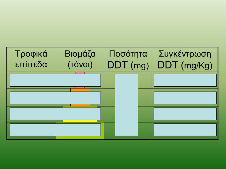 Τροφικά επίπεδα Βιομάζα (τόνοι) Ποσότητα DDT ( mg) Συγκέντρωση DDT ( mg/Kg) 3ης τάξης110 6 1.000 2ης τάξης1010 6 100 1ης τάξης10010 6 10 Παραγωγοί1.00