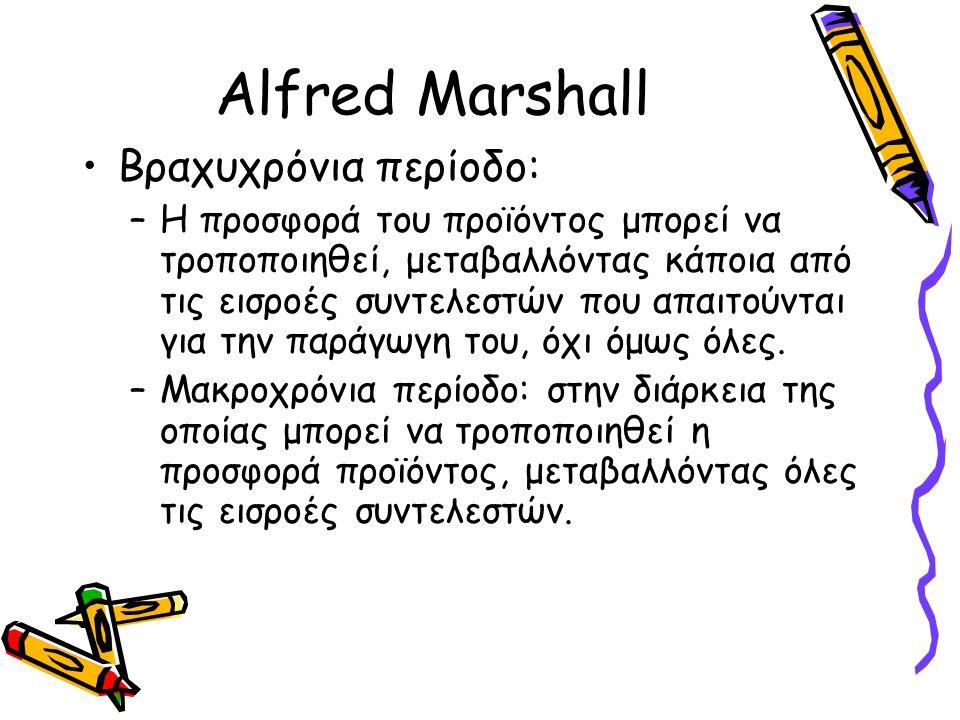 Alfred Marshall Βραχυχρόνια περίοδο: –Η προσφορά του προϊόντος μπορεί να τροποποιηθεί, μεταβαλλόντας κάποια από τις εισροές συντελεστών που απαιτούντα