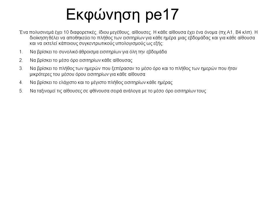 Εκφώνηση pe17 Ένα πολυσινεμά έχει 10 διαφορετικές, ίδιου μεγέθους, αίθουσες. Η κάθε αίθουσα έχει ένα όνομα (πχ Α1, Β4 κλπ). Η διοίκηση θέλει να αποθηκ