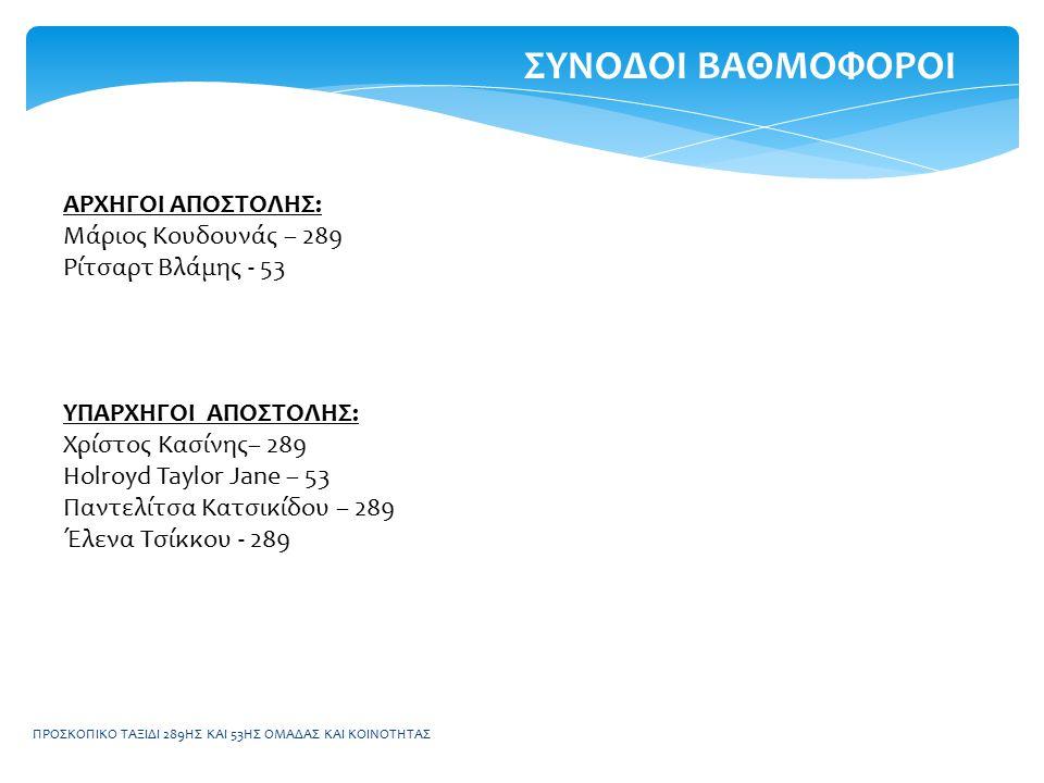 ΠΡΟΣΚΟΠΙΚΟ ΤΑΞΙΔΙ 289ΗΣ ΚΑΙ 53ΗΣ ΟΜΑΔΑΣ ΚΑΙ ΚΟΙΝΟΤΗΤΑΣ ΠΡΟΓΡΑΜΜΑ 08:00Εγερτήριο – Τακτοποίηση ατομικών εφοδίων 08:30Πρόγευμα 09:30 Συγκέντρωση και αναχώρηση με λεωφορείο για το χιονοδρομικό κέντρο Βελουχίου http://www.velouxi.gr/ 10:00Άφιξη – Εξοπλισμός για κάθε παιδί 11:00Μάθημα ΣΚΙ