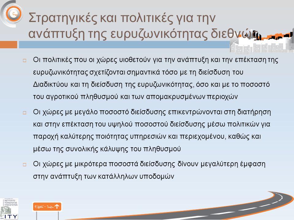 Στρατηγικές και πολιτικές για την ανάπτυξη της ευρυζωνικότητας διεθνώς  Οι πολιτικές που οι χώρες υιοθετούν για την ανάπτυξη και την επέκταση της ευρυζωνικότητας σχετίζονται σημαντικά τόσο με τη διείσδυση του Διαδικτύου και τη διείσδυση της ευρυζωνικότητας, όσο και με το ποσοστό του αγροτικού πληθυσμού και των απομακρυσμένων περιοχών  Οι χώρες με μεγάλο ποσοστό διείσδυσης επικεντρώνονται στη διατήρηση και στην επέκταση του υψηλού ποσοστού διείσδυσης μέσω πολιτικών για παροχή καλύτερης ποιότητας υπηρεσιών και περιεχομένου, καθώς και μέσω της συνολικής κάλυψης του πληθυσμού  Οι χώρες με μικρότερα ποσοστά διείσδυσης δίνουν μεγαλύτερη έμφαση στην ανάπτυξη των κατάλληλων υποδομών