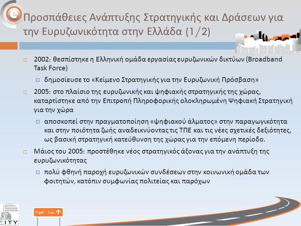 Προσπάθειες Ανάπτυξης Στρατηγικής και Δράσεων για την Ευρυζωνικότητα στην Ελλάδα (1/2)  2002: θεσπίστηκε η Ελληνική ομάδα εργασίας ευρυζωνικών δικτύων (Broadband Task Force)  δημοσίευσε το « Κείμενο Στρατηγικής για την Ευρυζωνική Πρόσβαση »  2005: στο πλαίσιο της ευρυζωνικής και ψηφιακής στρατηγικής της χώρας, καταρτίστηκε από την Επιτροπή Πληροφορικής ολοκληρωμένη Ψηφιακή Στρατηγική για την χώρα  αποσκοπεί στην πραγματοποίηση « ψηφιακού άλματος » στην παραγωγικότητα και στην ποιότητα ζωής αναδεικνύοντας τις ΤΠΕ και τις νέες σχετικές δεξιότητες, ως βασική στρατηγική κατεύθυνση της χώρας για την επόμενη περίοδο.