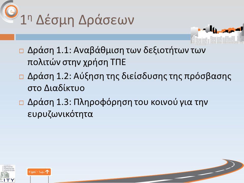 1 η Δέσμη Δράσεων  Δράση 1.1: Αναβάθμιση των δεξιοτήτων των πολιτών στην χρήση ΤΠΕ  Δράση 1.2: Αύξηση της διείσδυσης της πρόσβασης στο Διαδίκτυο  Δράση 1.3: Πληροφόρηση του κοινού για την ευρυζωνικότητα