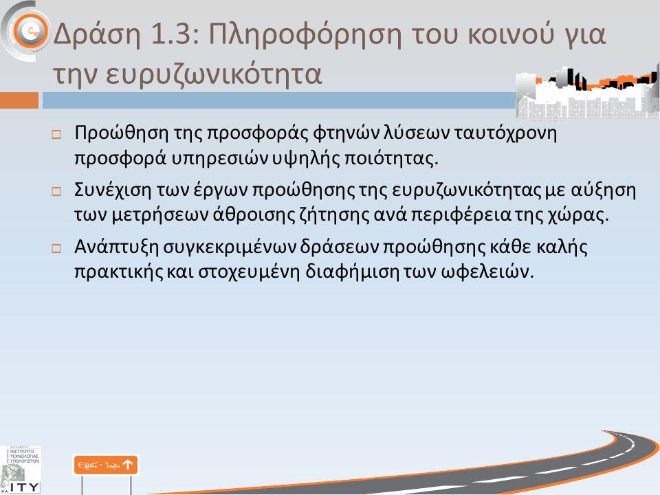 Δράση 1.3: Πληροφόρηση του κοινού για την ευρυζωνικότητα  Προώθηση της προσφοράς φτηνών λύσεων ταυτόχρονη προσφορά υπηρεσιών υψηλής ποιότητας.