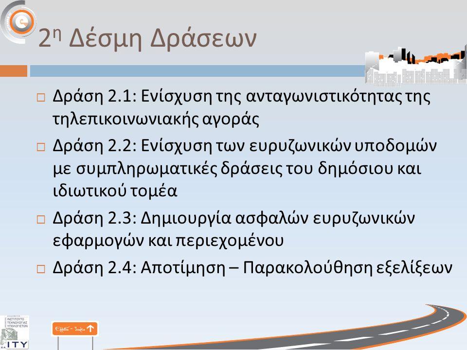 2 η Δέσμη Δράσεων  Δράση 2.1: Ενίσχυση της ανταγωνιστικότητας της τηλεπικοινωνιακής αγοράς  Δράση 2.2: Ενίσχυση των ευρυζωνικών υποδομών με συμπληρωματικές δράσεις του δημόσιου και ιδιωτικού τομέα  Δράση 2.3: Δημιουργία ασφαλών ευρυζωνικών εφαρμογών και περιεχομένου  Δράση 2.4: Αποτίμηση – Παρακολούθηση εξελίξεων