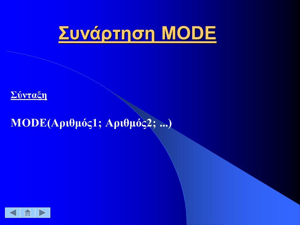 Συνάρτηση MODE Σύνταξη MODE(Αριθμός1; Αριθμός2;...)
