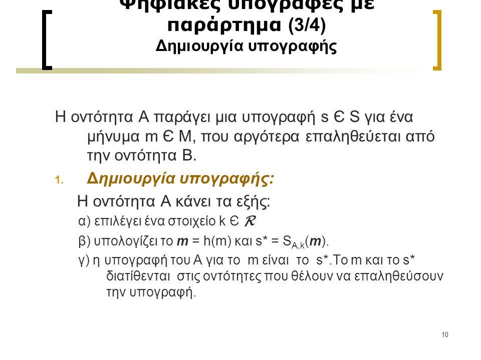 10 Ψηφιακές υπογραφές με παράρτημα (3/4) Δημιουργία υπογραφής Η οντότητα Α παράγει μια υπογραφή s Є S για ένα μήνυμα m Є M, που αργότερα επαληθεύεται