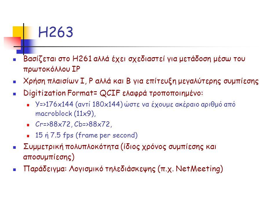 Η263 Βασίζεται στο H261 αλλά έχει σχεδιαστεί για μετάδοση μέσω του πρωτοκόλλου IP Χρήση πλαισίων Ι, P αλλά και B για επίτευξη μεγαλύτερης συμπίεσης Digitization Format= QCIF ελαφρά τροποποιημένο: Υ=>176x144 (αντί 180x144) ώστε να έχουμε ακέραιο αριθμό από macroblock (11x9), Cr=>88x72, Cb=>88x72, 15 ή 7.5 fps (frame per second) Συμμετρική πολυπλοκότητα (ίδιος χρόνος συμπίεσης και αποσυμπίεσης) Παράδειγμα: Λογισμικό τηλεδιάσκεψης (π.χ.