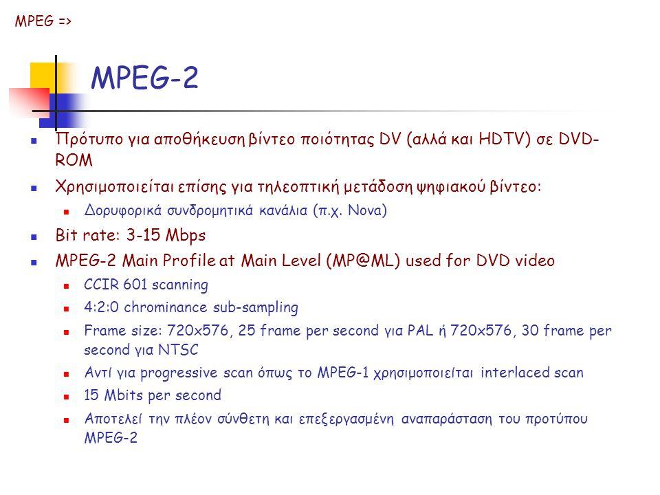 MPEG-2 Πρότυπο για αποθήκευση βίντεο ποιότητας DV (αλλά και HDTV) σε DVD- ROM Χρησιμοποιείται επίσης για τηλεοπτική μετάδοση ψηφιακού βίντεο: Δορυφορικά συνδρομητικά κανάλια (π.χ.
