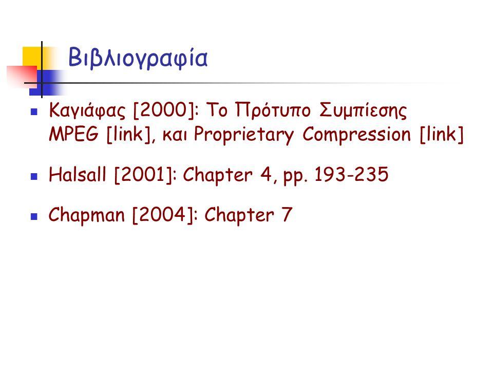 Βιβλιογραφία Καγιάφας [2000]: Το Πρότυπο Συμπίεσης MPEG [link], και Proprietary Compression [link] Halsall [2001]: Chapter 4, pp. 193-235 Chapman [200