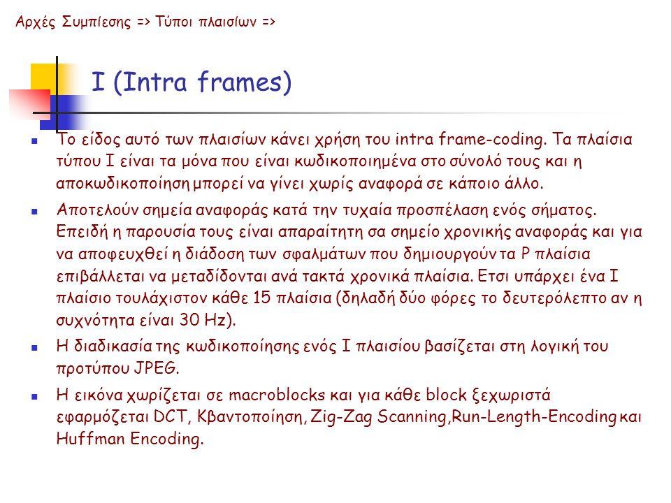 Ι (Intra frames) Tο είδος αυτό των πλαισίων κάνει χρήση του intra frame-coding. Τα πλαίσια τύπου Ι είναι τα μόνα που είναι κωδικοποιημένα στο σύνολό τ
