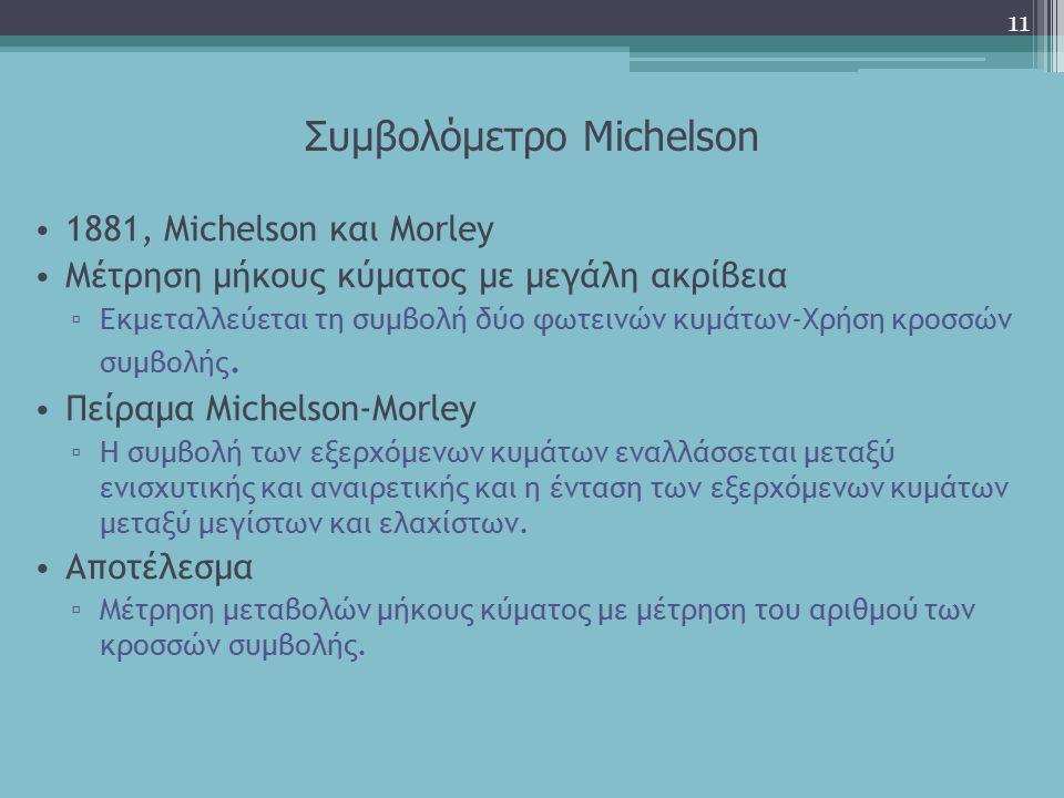 Συμβολόμετρο Michelson 1881, Michelson και Μorley Μέτρηση μήκους κύματος με μεγάλη ακρίβεια ▫ Εκμεταλλεύεται τη συμβολή δύο φωτεινών κυμάτων-Χρήση κρο