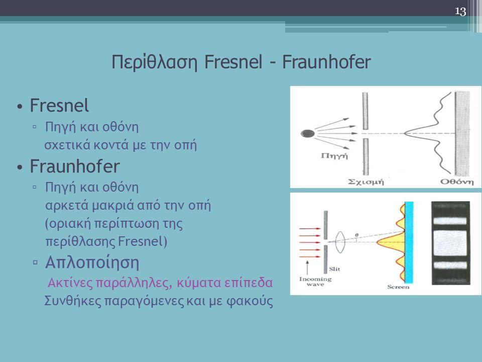 Περίθλαση Fresnel - Fraunhofer 13 Fresnel ▫ Πηγή και οθόνη σχετικά κοντά με την οπή Fraunhofer ▫ Πηγή και οθόνη αρκετά μακριά από την οπή (οριακή περί