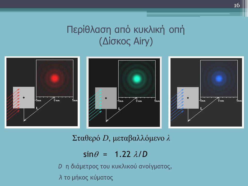 Περίθλαση από κυκλική οπή (Δίσκος Airy) 16 Σταθερό D, μεταβαλλόμενο λ sin  = 1.22 /D D η διάμετρος του κυκλικού ανοίγματος, λ το μήκος κύματος