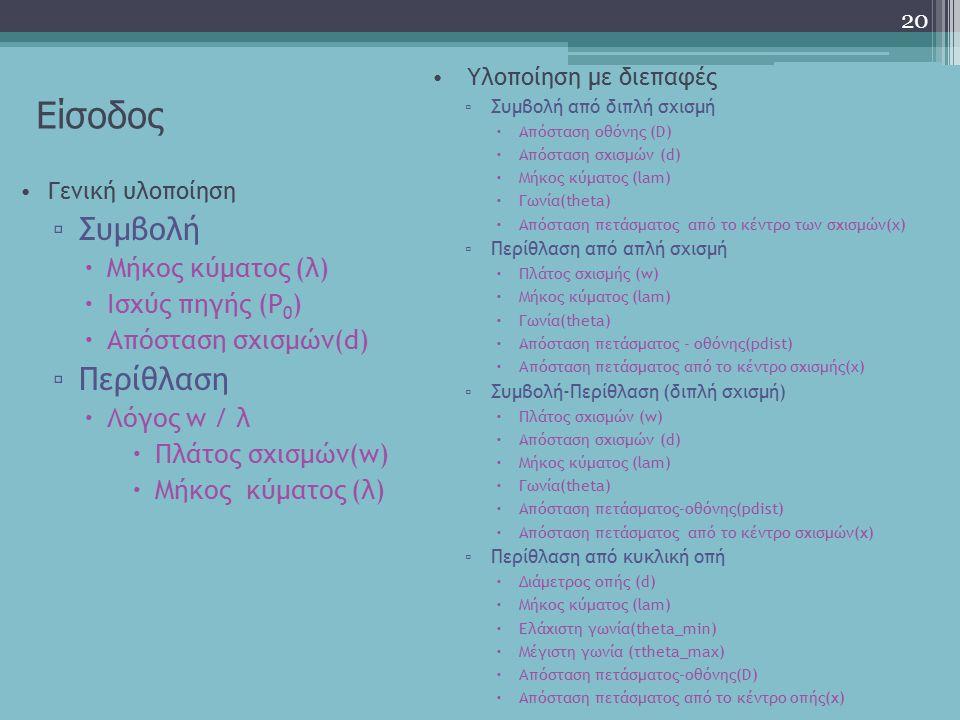 Είσοδος 20 Γενική υλοποίηση ▫ Συμβολή  Μήκος κύματος (λ)  Ισχύς πηγής (P 0 )  Απόσταση σχισμών(d) ▫ Περίθλαση  Λόγος w / λ  Πλάτος σχισμών(w)  Μ