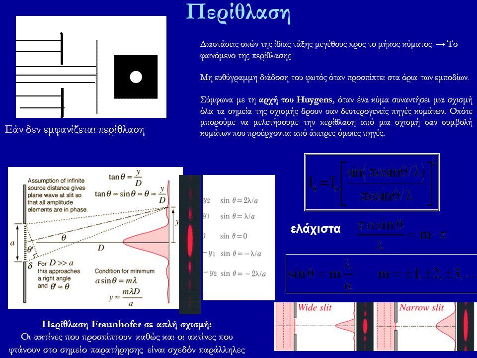 Περίθλαση Διαστάσεις οπών της ίδιας τάξης μεγέθους προς το μήκος κύματος → Το φαινόμενο της περίθλασης Μη ευθύγραμμη διάδοση του φωτός όταν προσπίπτει στα όρια των εμποδίων.
