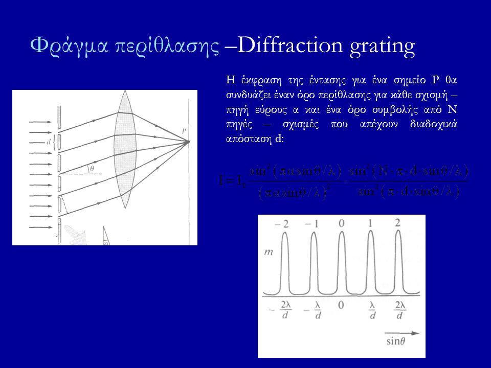 Φράγμα περίθλασης –Diffraction grating Η έκφραση της έντασης για ένα σημείο Ρ θα συνδυάζει έναν όρο περίθλασης για κάθε σχισμή – πηγή εύρους α και ένα όρο συμβολής από Ν πηγές – σχισμές που απέχουν διαδοχικά απόσταση d:
