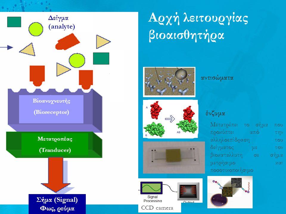 Αρχή λειτουργίας βιοαισθητήρα Δείγμα (analyte) Biοανυχνευτής (Bioreceptor) Μετατροπέας (Tranducer) Σήμα (Signal) Φως, ρεύμα Μετατροπέας σήματος ένζυμα αντισώματα Μετατρέπει το σήμα που προκύπτει από την αλληλοεπίδραση του δείγματος με τον βιοκαταλλυτη σε σήμα μετρήσιμο και ποσοτικοποιήσιμο CCD camera