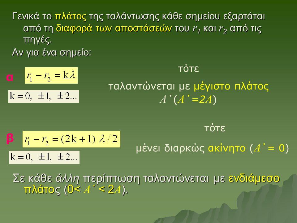 Γενικά το πλάτος της ταλάντωσης κάθε σημείου εξαρτάται από τη διαφορά των αποστάσεών του r 1 και r 2 από τις πηγές. Αν για ένα σημείο: τότε ταλαντώνετ