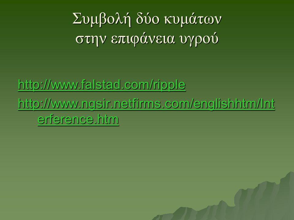 Συμβολή δύο κυμάτων στην επιφάνεια υγρού http://www.falstad.com/ripple http://www.falstad.com/ripple http://www.ngsir.netfirms.com/englishhtm/Int erfe