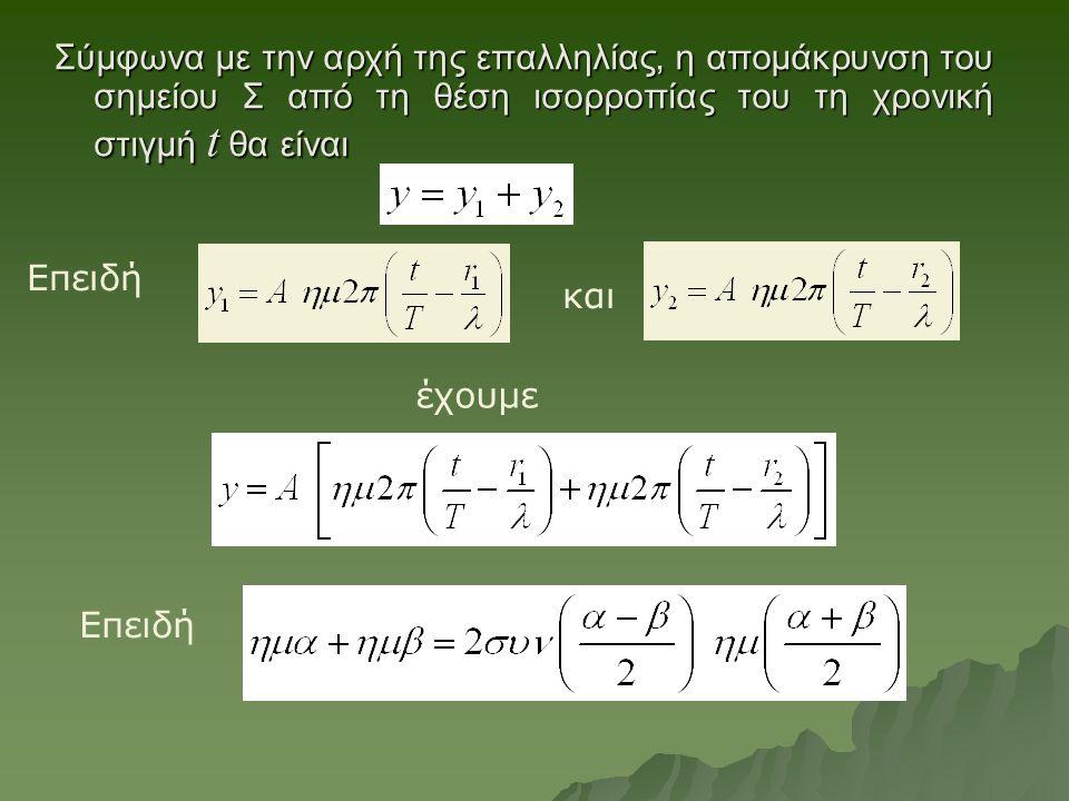 Σύμφωνα με την αρχή της επαλληλίας, η απομάκρυνση του σημείου Σ από τη θέση ισορροπίας του τη χρονική στιγμή t θα είναι και έχουμε Επειδή