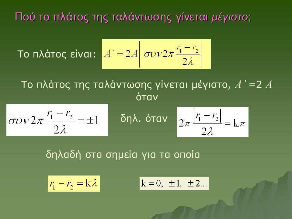 Πού το πλάτος της ταλάντωσης γίνεται μέγιστο; Το πλάτος της ταλάντωσης γίνεται μέγιστο, Α ΄=2 Α όταν Το πλάτος είναι: δηλ. όταν δηλαδή στα σημεία για