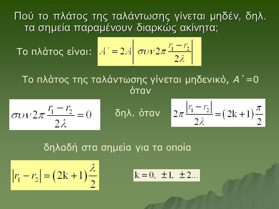 Πού το πλάτος της ταλάντωσης γίνεται μηδέν, δηλ. τα σημεία παραμένουν διαρκώς ακίνητα; Το πλάτος της ταλάντωσης γίνεται μηδενικό, Α΄=0 όταν Το πλάτος
